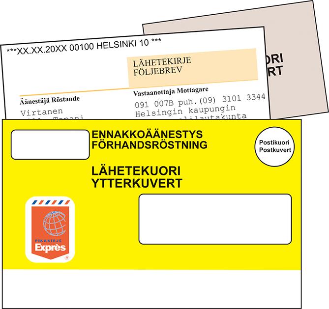 Vaalikuori, jonka sisällä on äänestyslippu, sekä lähetekirje suljetaan lähetekuoreen.